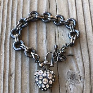 Fossil Dark Metal Pave Puffed Heart Chain Bracelet